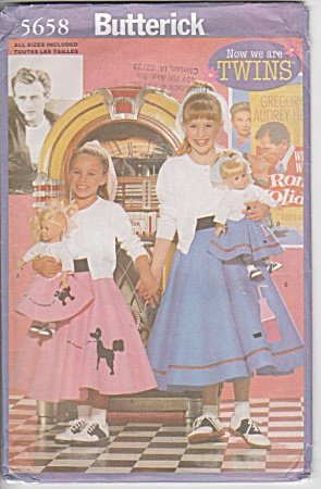 Butterick 5658 - Girls and 18-Inch Doll Costume - Poodle Skirts - Sizes XS-S-M-L (Poodle Size)