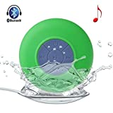 Allmet Waterproof Wireless Bluetooth Stereo Shower Speaker, Mini Ultra Portable Handsfree Speakerphone with Built-in Mic. Compatible with All Bluetooth Devices iPhone and All Android Devices (Green)