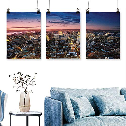 SCOCICI1588 Three Consecutive Painting Frameless Manhattan at Last Sunlights The Day Metropolitan Downtown Roofs State Struct Artwork for Wall Decor Triptych 16 INCH X 24 INCH X 3PCS