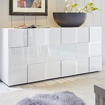 M-012 Buffet 3 Portes Blanc laqué Design SANDREA  Amazon.fr  Cuisine ... 83e56482eb57