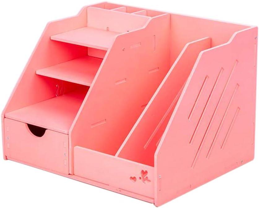 Jcnfa-Estante Caja De Almacenamiento De Escritorio Portadocumentos con Cajon Material De Oficina Administrador De Escritorio Titular De La Pluma (Color : Pink): Amazon.es: Hogar