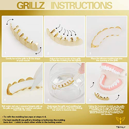 TSANLY Gold Grillz - New Custom Fit 24k Gold Grillz Plated Tooth Grills fit Mouth Caps Top & Bottom Grill Set Grills for Son by TSANLY (Image #6)