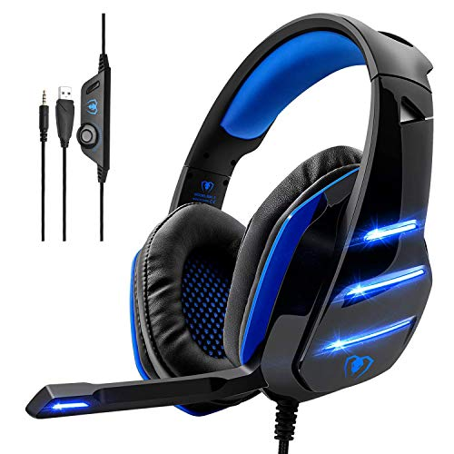 (Gaming Headset,MMUSC Stereo Headphones for Laptop,Tablet,PS4, PC, Xbox One Controller, Noise Cancelling Over Ear Headset with Mic, LED Light, Bass Surround)
