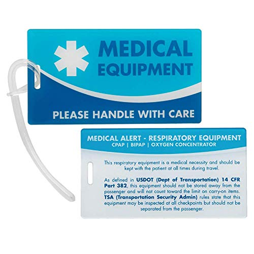 Medical Equipment ID Identification Luggage Tags | Medical Alert | Carry-On Respiratory Devices (Cpap Medical Equipment Carry On Luggage Tag)