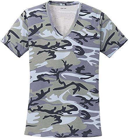 Joe's USA(tm) Ladies Camo V-Neck Tees V-Neck T-Shirt-Woodland Blue Camo-XL - Woodland Camouflage Tee T-shirt Top