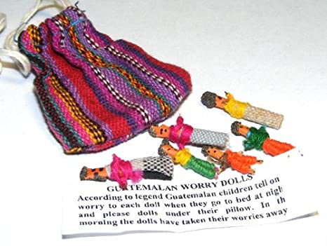 Worry Dolls: Set of 6 in a colorful bag