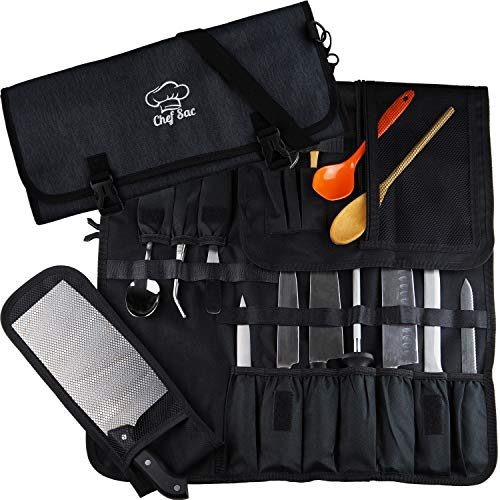 Chef Knife Roll Bag  8+ Pockets for Knives & Kitchen Utensils   Mesh Pocket Material   Great Gift for Executive Chefs & Culinary Students