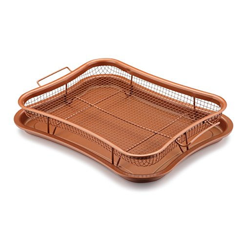 Gelinzon Stainless Steels Nonstick Copper Crisper Tray Oven Air Fryer Pan