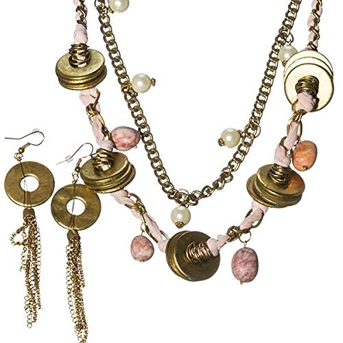 24 Long Multi Strand Pink Fabric Stone Bead Gold Tone Necklace Earrings Set id-3029
