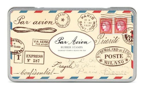 Cavallini Rubber Stamps Par Avion, Assorted with Ink - Stamps Old Postal