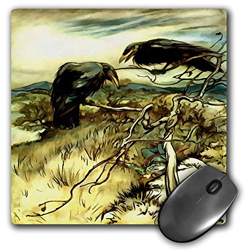 3dRose Taiche - Acrylic Painting - Birds - The Two Crows - Mousepad (mp_245542_1)