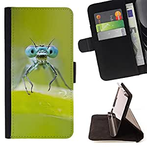 KingStore / Leather Etui en cuir / Apple Iphone 5C / Verde de insectos