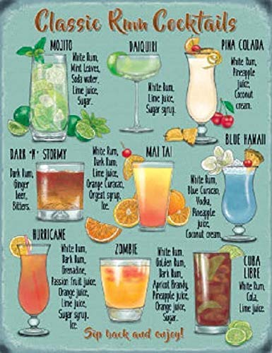 HarrodxBOX Rum Plaque Cocktail Recipes Drink Kitchen Bar Steel Plaque Metal Tin Signs for Home Decor Wall Post Housewarming Gift]()