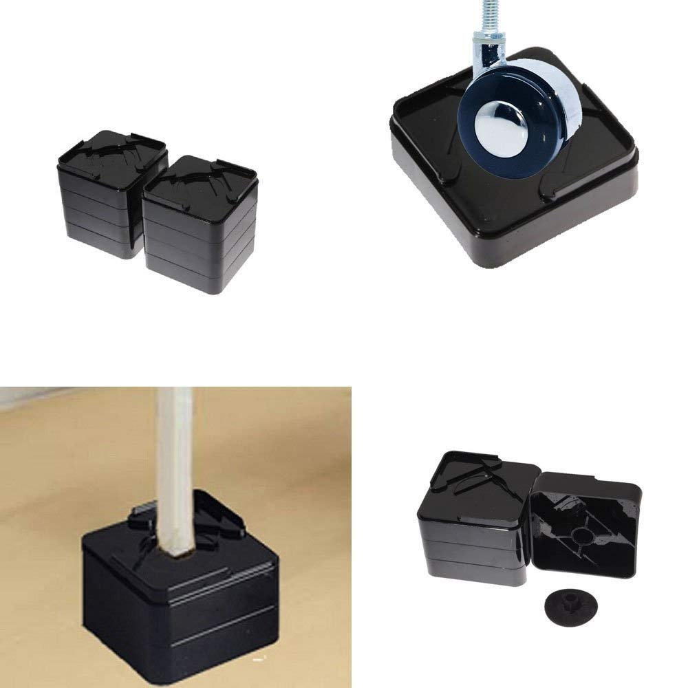 1 or 2 Inch 8 Pack Black Square Bed Risers Furniture Risers Help With Storage Under and Furniture Adjustable Stackable and Durable Heavy Duty 1,800 Pounds