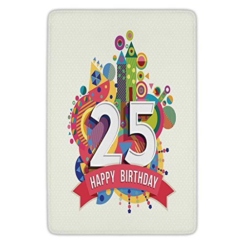 Bathroom Bath Rug Kitchen Floor Mat Carpet,25th Birthday Decorations,Fun Celebration Greeting Card Inspired with Number Text Label,Multicolor,Flannel Microfiber Non-slip Soft Absorbent (Flannel Label)