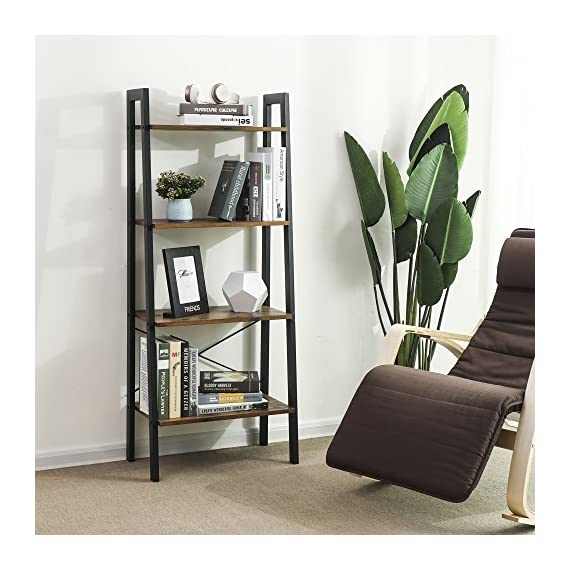 VASAGLE Industrial Ladder Shelf, 4-Tier Bookshelf, Storage Rack Shelves, Bathroom, Living Room, Wood Look Accent Furniture, Metal Frame, Rustic Brown ULLS44X - Built for extended use: Sturdy metal for the frame and durable chipboard for shelving; reinforced by crossbar on the Back; this ladder bookshelf is quite solid and has long service life 4-Tier open shelves: rustic ladder shelf provides ample space while making full use of the limited space, Perfect for storing any items you want to collect and display Stable for safe use: 4 protective caps on the bottom to ensure wooden ladder shelf stands stably while protecting your floor from scratches; Comes with Anti-toppling fittings to anchor it to the Wall for safe use - living-room-furniture, living-room, bookcases-bookshelves - 51JDU4IG1yL. SS570  -