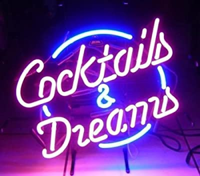 """New Cocktails and Dreams Glass Logo Neon Light Sign Home Beer Bar Pub Recreation Room Game Room Windows Garage Wall Sign 17w""""x 14""""h"""