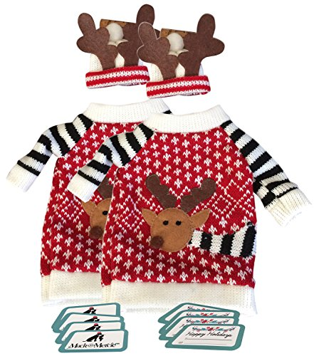 decoration-for-wine-bottles-reindeer-sweater-and-hat-ugly-sweater-qty-2-with-10-gift-tags