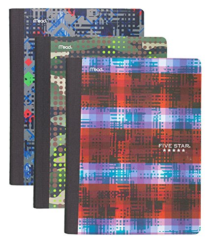 """Five Star Composition Books / Notebooks, College Ruled, 9-3/4"""" x 7-1/2"""", Graphics, Assorted Designs, 3 Pack (73854)"""