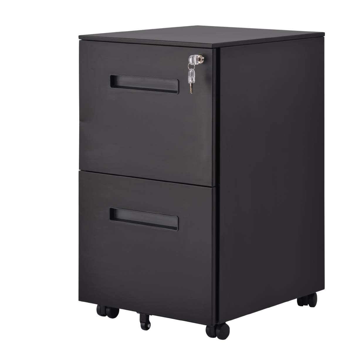 File Cabinet Mobile 2 Drawer Metal Pedestal Filing Cabinets with Lock Key 5 Rolling Casters Fully Assembled Home Office Modern Vertical Hanging Folders A4 Letter Legal Size