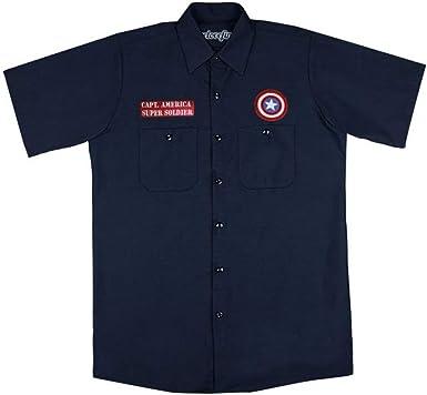 Marvel Captain America-Super Soldier Camisa de Trabajo para Hombre Marine L: Amazon.es: Ropa y accesorios