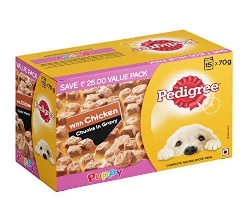 Pedigree Puppy Wet Dog Food, Chicken Chunks in Gravy, 70 g (Pack of 15)