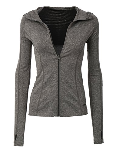 LE3NO Womens Lightweight Zip Up Long Sleeve Active Sports Jacket Top with Hoodie
