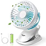PUAIDA Clip on Baby Stroller Fan, Battery Operated Portable Ultra Quiet Desk Fan with 2500mAh Battery, 3 Speeds and 360 Degree Rotation for Office, Bedroom, Outdoor Camping
