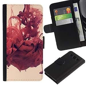 Protector de cuero de la PU de la cubierta del estilo de la carpeta del tirón BY RAYDREAMMM - Samsung Galaxy S3 III I9300 - Abstracto rojo