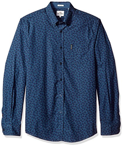 - Ben Sherman Men's Longsleeve SOHO Print Party, Staples Navy, XXL