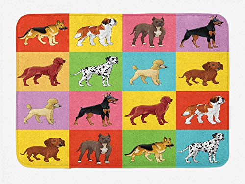 - ZQKCMY Dogs Bath Mat, Colorful Checkered Pattern with Different Breeds of Dogs Animal Pet Lover Themed Print, Plush Bathroom Decor Mat with Non Slip Backing, Multicolor,19.6X31.4 inch