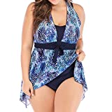 Kexdaaf Sexy Swimsuits for Women Plus Size,Women Plus Size Print Tankini Swimjupmsuit Swimsuit Beachwear Padded Swimwear,Plus-Size Maternity Clothing,Blue,L
