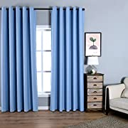 Dreaming Casa Solid Room Darkening Blackout Curtain For Bedroom 84 Inches Long Draperies Window Treatment 2 Panels Blue Grommet Top 2(42  W x 84  L)