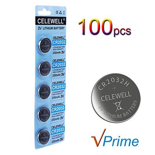 CELEWELL 100 Pack CR2032 3V Lithium Battery