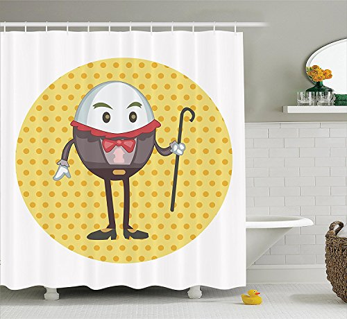 Alice in Wonderland Decorations Collection Humpty Dumpty Egg Standing Dotted Background Cartoon Alice Polyester Fabric Bathroom Shower Curtain Set with Hooks Orange Brown
