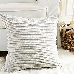 Home Brilliant Striped Soft Velvet Corduroy European Throw Pillow Sham with Hidden Zipper, Only Cover, 26 inch(66x66cm), Light Grey