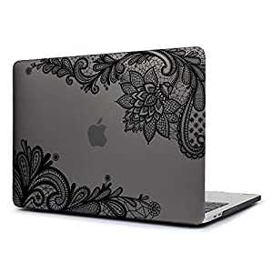 Dongke New MacBook Pro 13 Case 2017 & 2016 Release,Stylish Lace Design for Lady Frosted Sleeve Cover for Apple MacBook Pro 13 inch with /without Multi-Touch Bar (Model:A1706/A1708) (Grey)