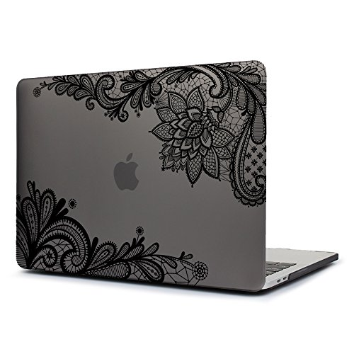 Dongke Case for New MacBook Pro 13 2018 2017 & 2016 Release,Stylish Lace Design for Lady Frosted Cover for Apple MacBook Pro 13.3 inch with /without Multi-Touch Bar (Model:A1989 A1706/A1708) (Grey)