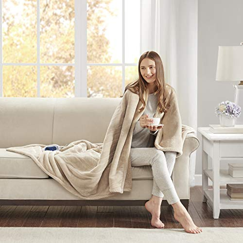 Beautyrest Plush Heated Electric Throw Blanket - Secure Comfort Technology Cozy Soft Microlight to Berber, 60x70, Beige