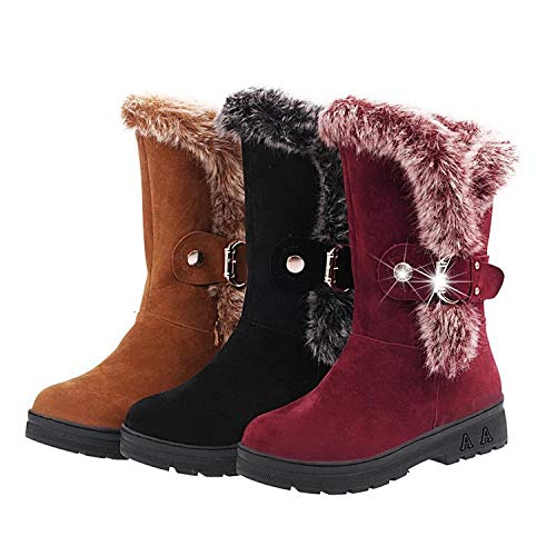 Size Color Shoies Boots Mid 6 Slip Women UK Buckle Fur Lined on 5 Calf Flat Winter Yellow BHpvOq