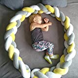 Baby Crib Bumper Knotted Braided Plush Nursery Cradle Decor Newborn Gift Pillow Cushion Junior Bed Sleep Bumper White+Yellow+Gray 156 inch