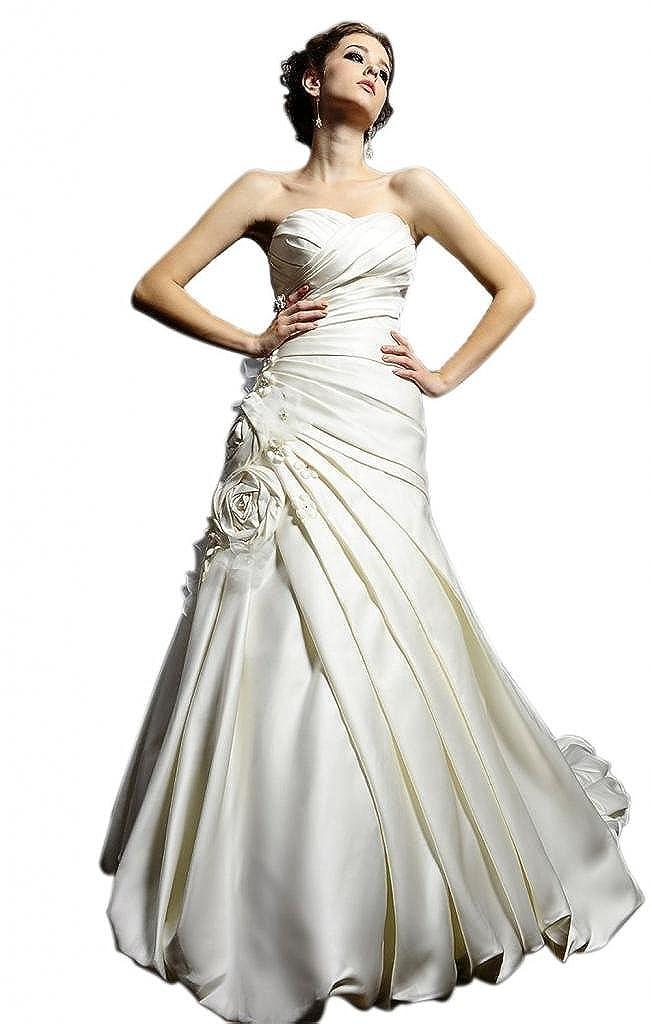 Dearta Womens A-Line//Princess Wedding Dresses with Ruched//Draped//Handmade Flowers