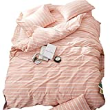 EnjoyBridal Striped Duvet Cover Sets Queen Full,Washed Cotton Bedding Sets Queen for Teens Girls Boys with 4 Corners,Orange Pink and White Print Comforter Cover Full 3 Pieces (Queen, StripeC)