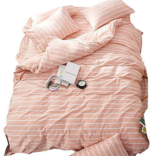 EnjoyBridal Striped Duvet Cover Sets Queen Full,Washed Cotton Bedding Sets Queen for Teens Girls Boys with 4 Corners,Orange Pink and White print out Comforter Cover entire 3 Pieces (Queen, StripeC)