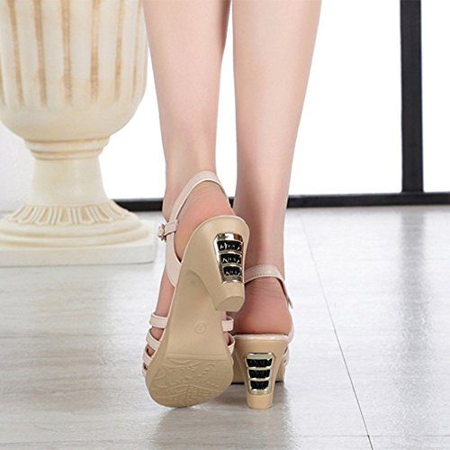 Hauts Mot Beige D'été Les Mesdames en Fuite Sexy Femmes Boucle Sandales Épais Toes Cuir des avec pour Un Talons Chaussures Out qXCBPw