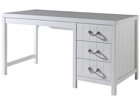 Scrivania In Legno Bianco : Design si total white scrivania legno laccato bianco shabby stile
