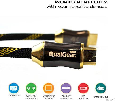 Audio Return Channel Ethernet Supports 4K Ultra HD 3D QualGear 3 Feet-2 Pack HDMI Premium Certified 2.0 cable with 24K Gold Plated Contacts 18Gbps QG-PCBL-HD20-3FT-2PK