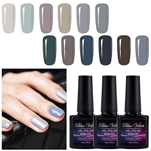 Gel Polish Set Blue Velvet 12pcs Soak Off UV LED Gray Color Gel Nail Coat Manicure and Pedicure Kit 10ML