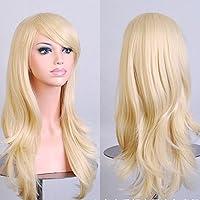 70cm Wavy Curly Sleek Full Hair Lady Wigs w Side Bangs Cosplay Costume Womens, Light Blonde