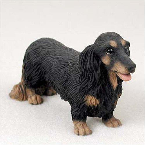 Longhair Dachshund, Black Original Dog Figurine (4in-5in)